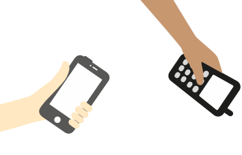 Illustration of 2 hands holding phones