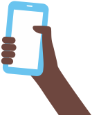 Illustration of 1 hands holding phones